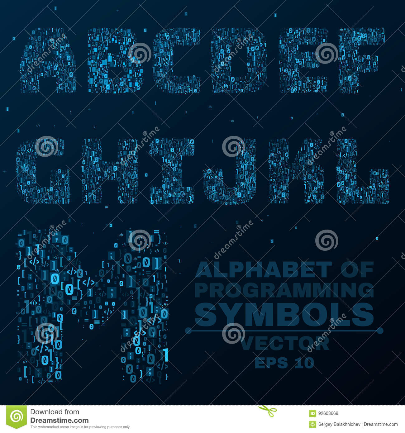 Alphabet from the symbols of the program code programming in alphabet from the symbols of the program code programming in design glowing letters are blue a b c d vector illustration e buycottarizona Choice Image
