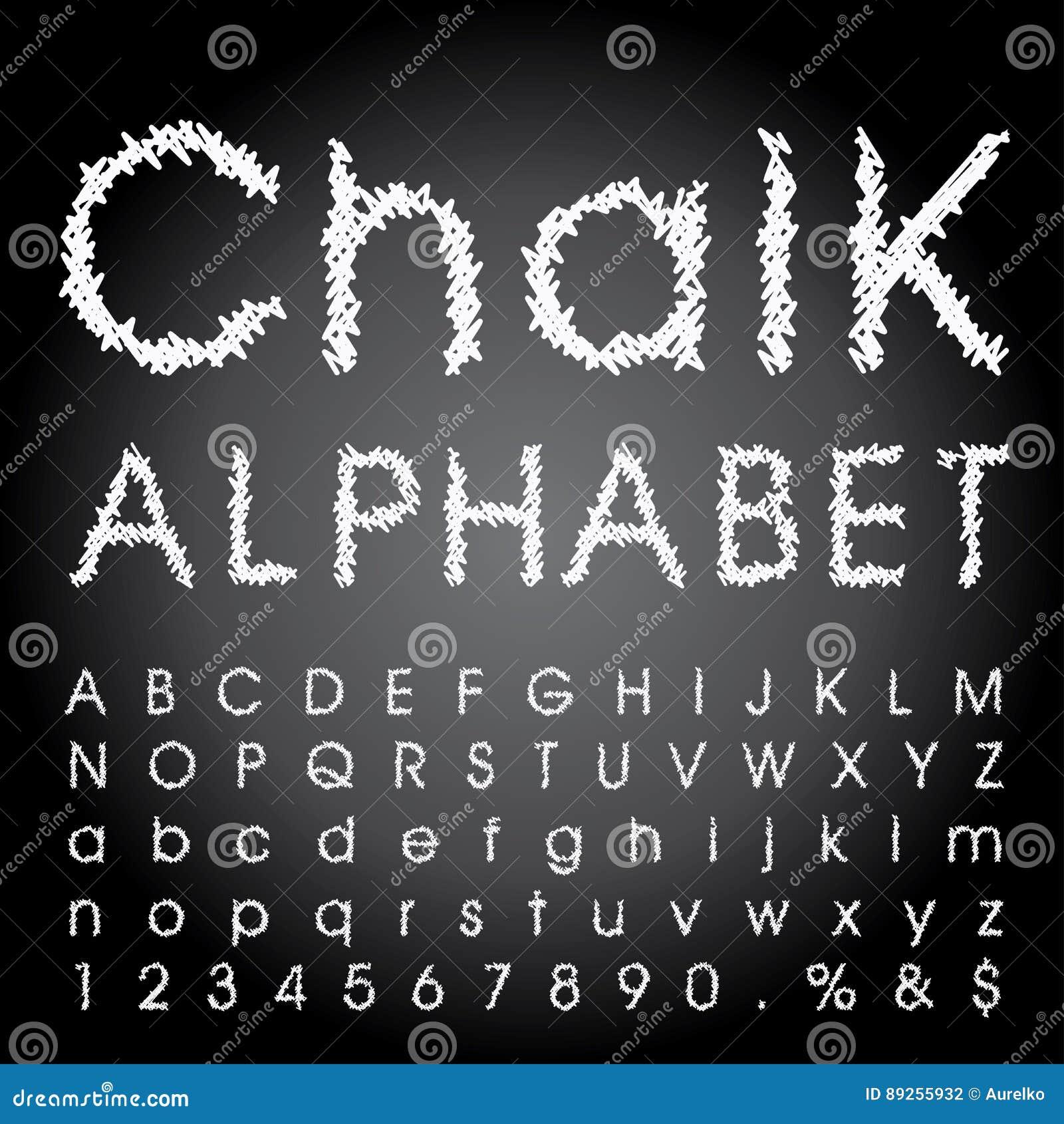 Alphabet tiré par la main de craie de vecteur