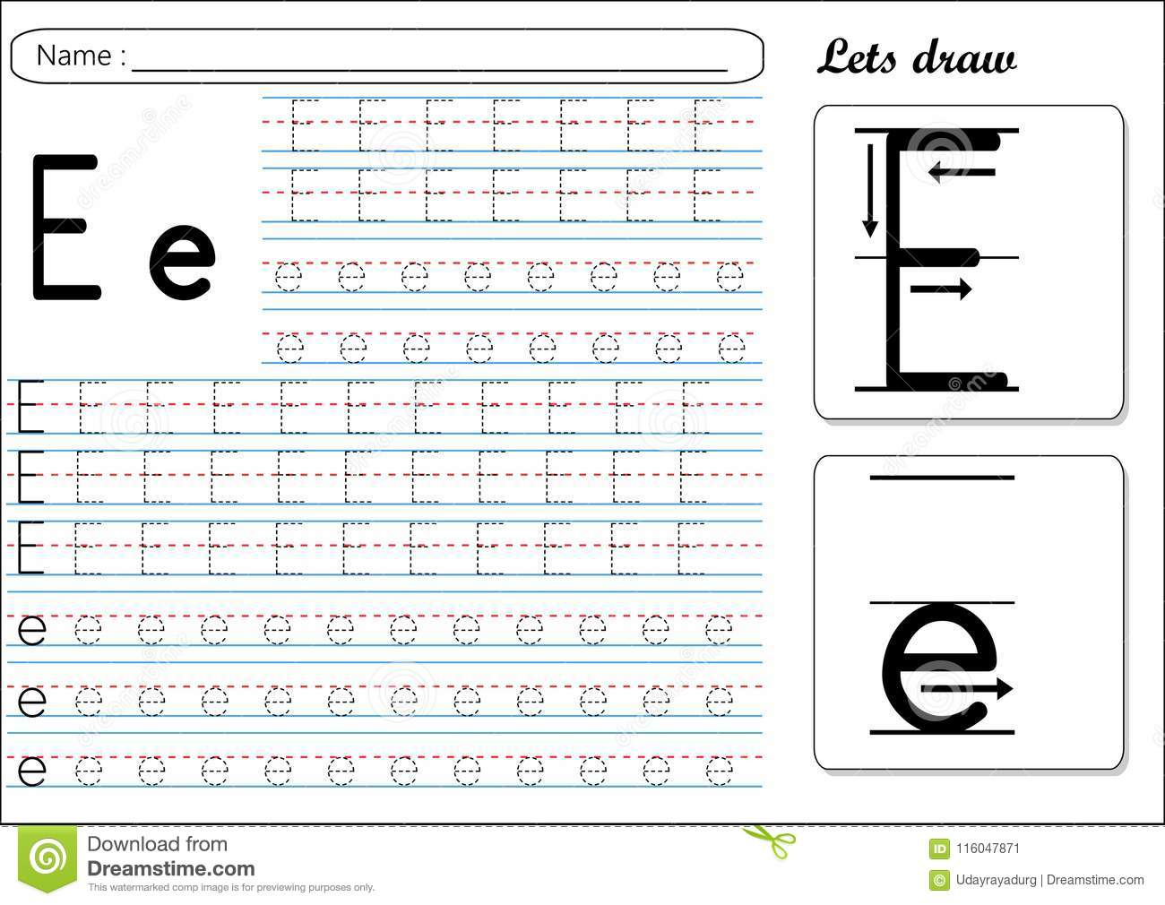 Tracing Worksheet -Ee stock vector. Illustration of small ...