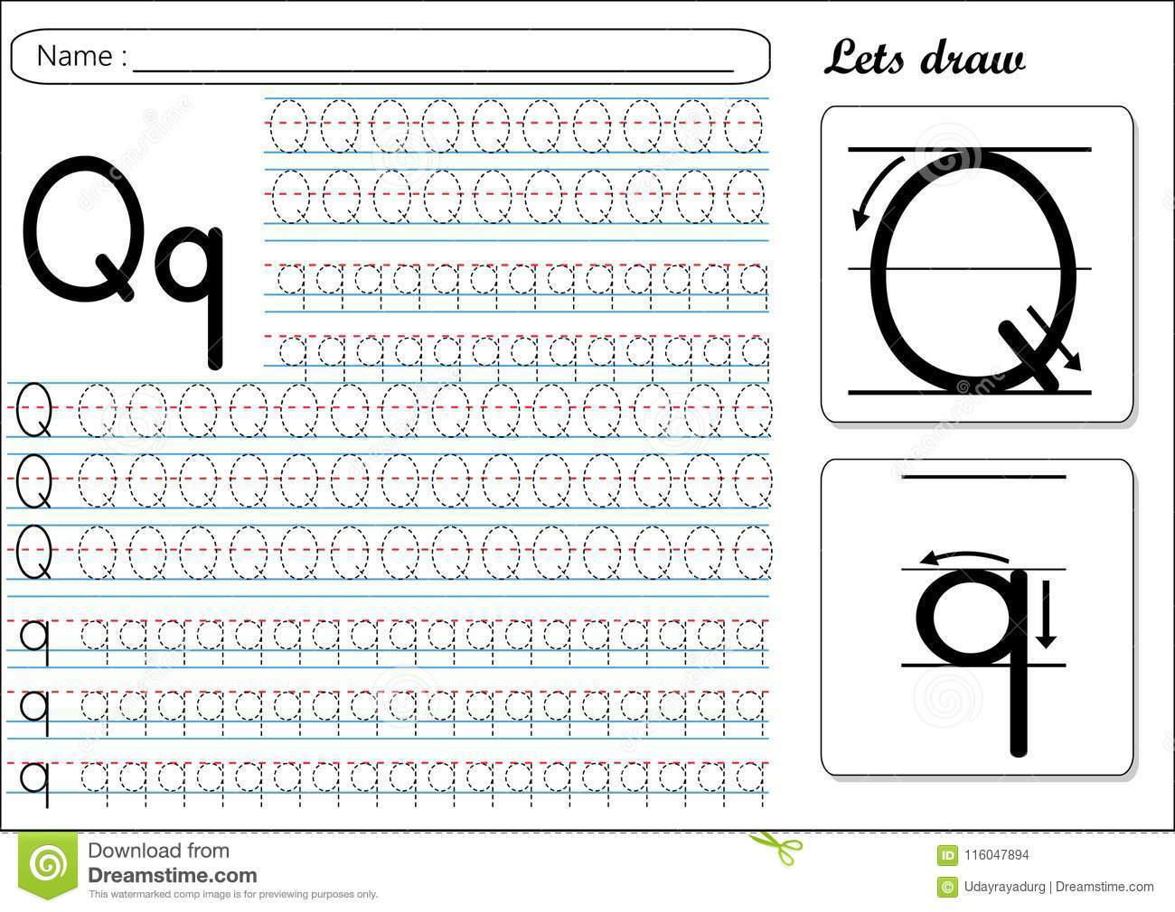 Tracing Worksheet Qq Stock Vector Illustration Of Practice 116047894