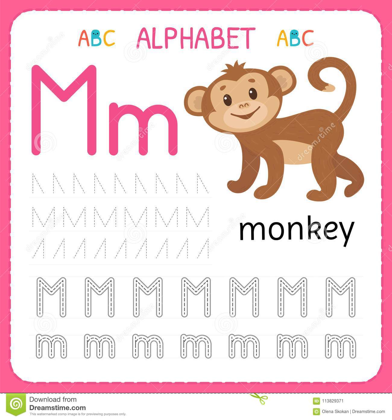 Download Alphabet Tracing Worksheet For Preschool And Kindergarten. Writing  Practice Letter M. Exercises For