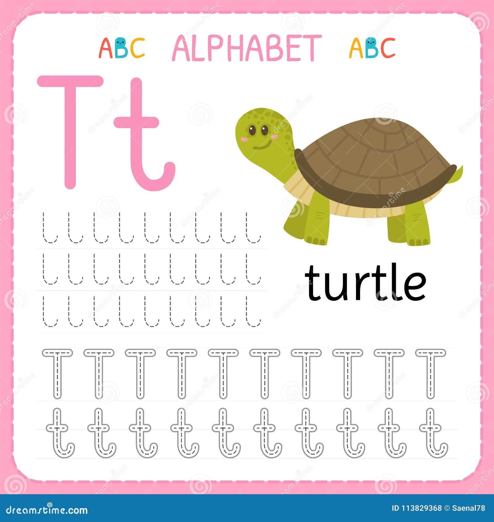 alphabet tracing worksheet for preschool and kindergarten writing practice letter t exercises. Black Bedroom Furniture Sets. Home Design Ideas