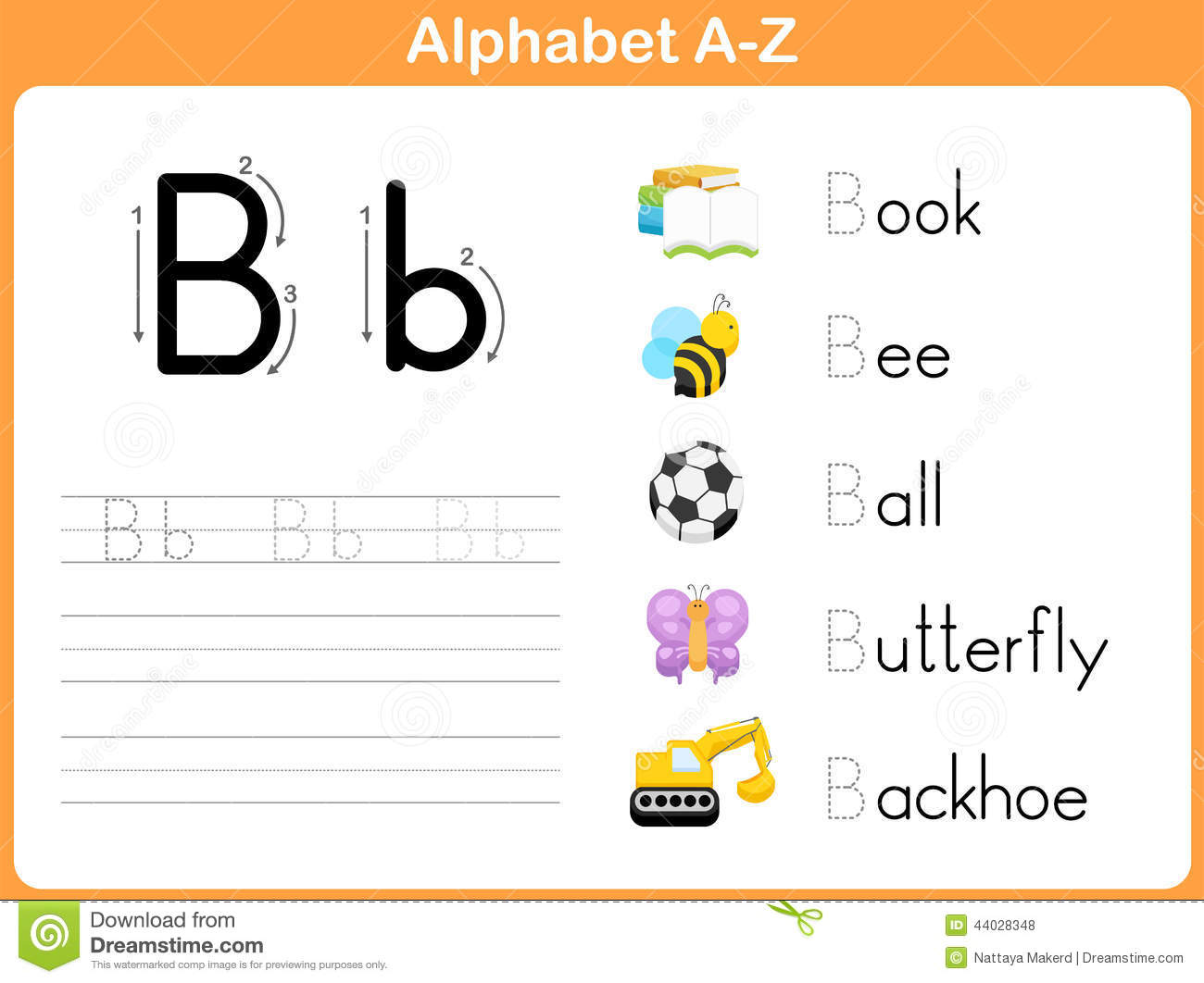 Alphabet Tracing Worksheet Stock Vector - Image: 44028348