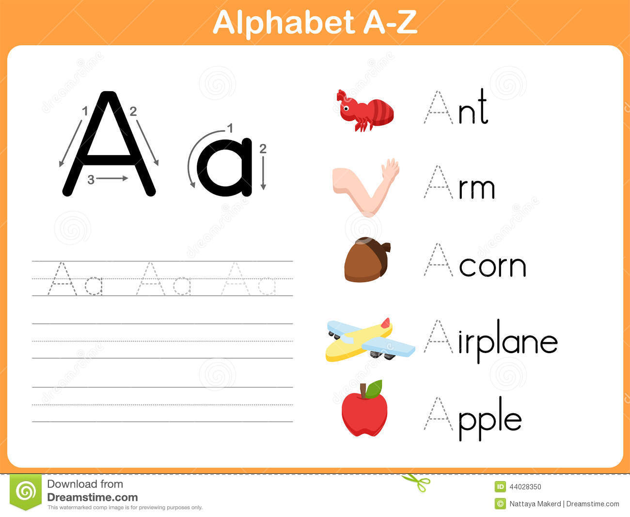 Alphabet Tracing Worksheet Stock Vector - Image: 44028350