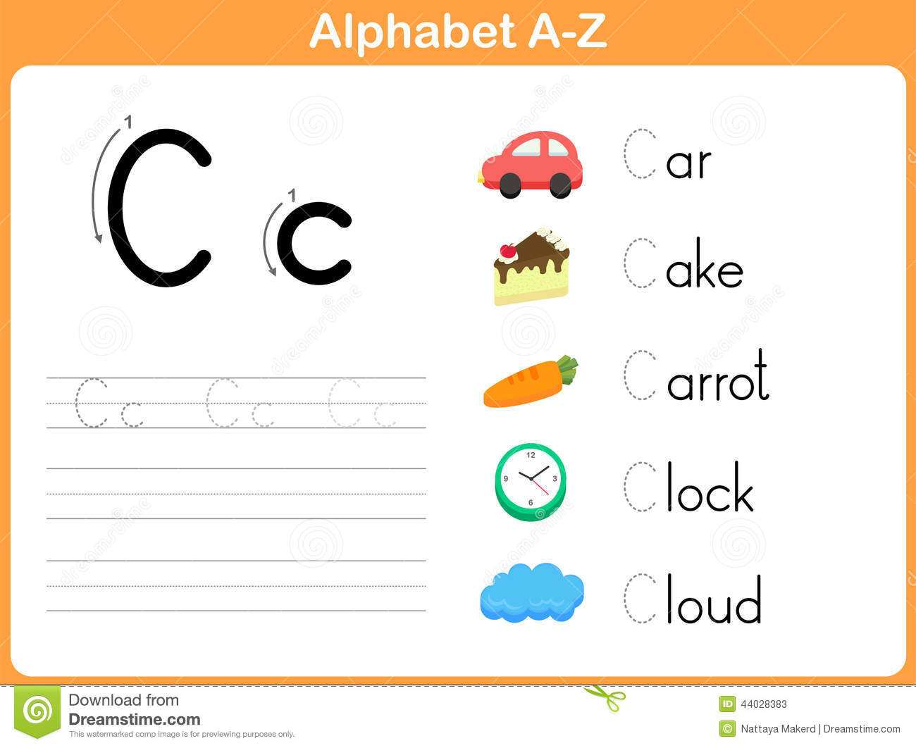 Alphabet Tracing Worksheet Stock Vector - Image: 44028383