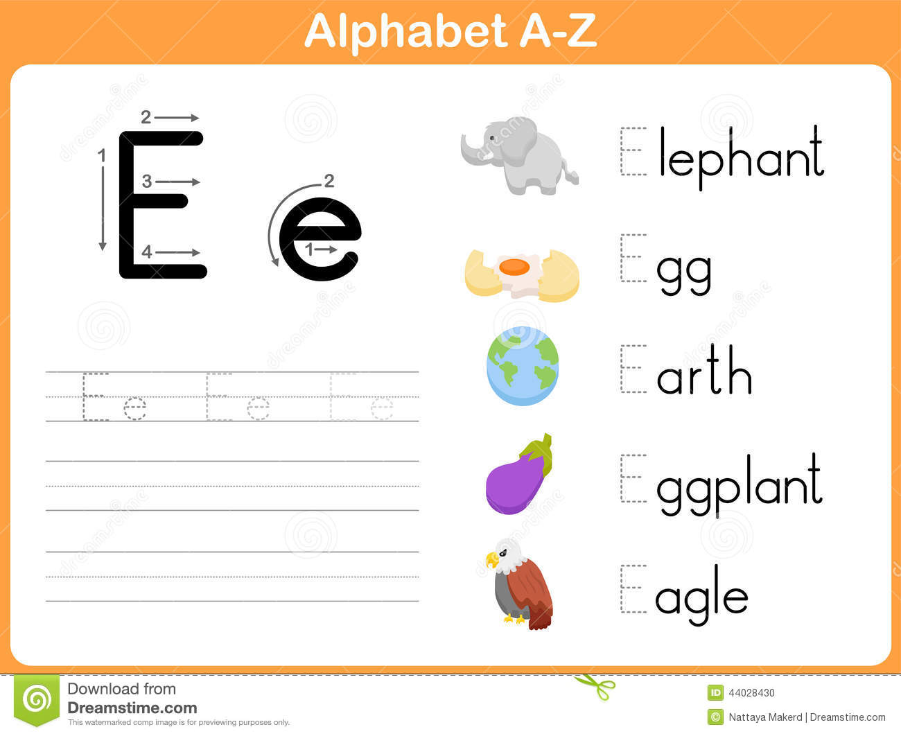 Alphabet Tracing Worksheet Stock Vector - Image: 44028430