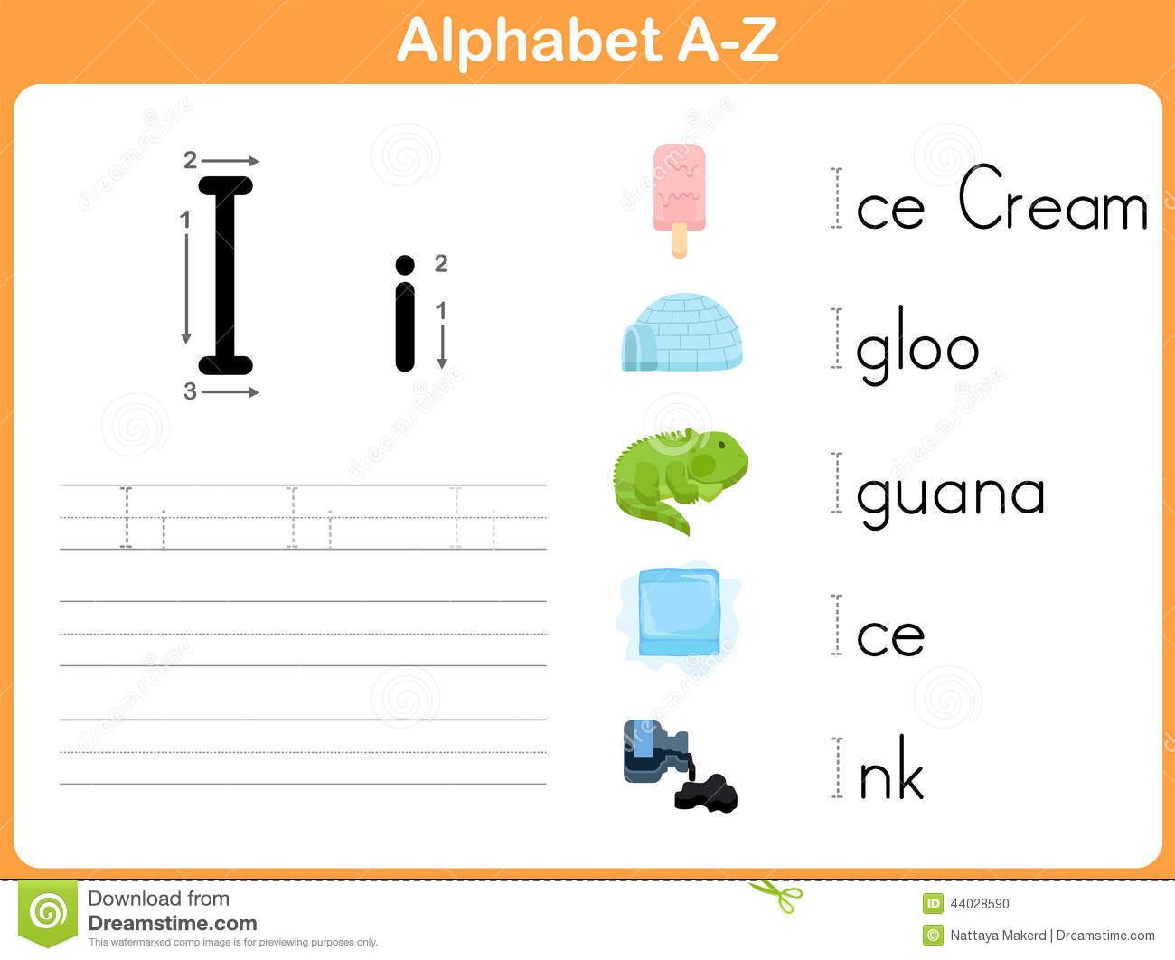 Alphabet Tracing Worksheet Stock Vector - Image: 44028590