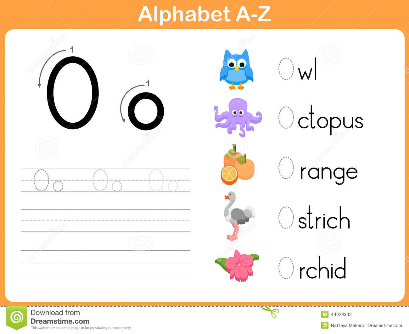 Alphabet Tracing Worksheet Stock Vector - Image: 44029342