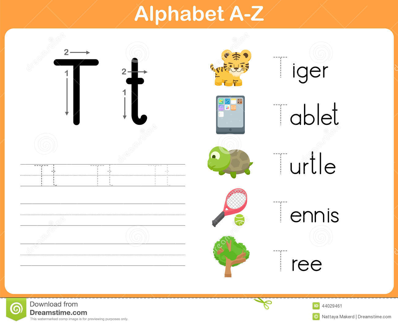 Alphabet Tracing Worksheet Stock Vector - Image: 44029461