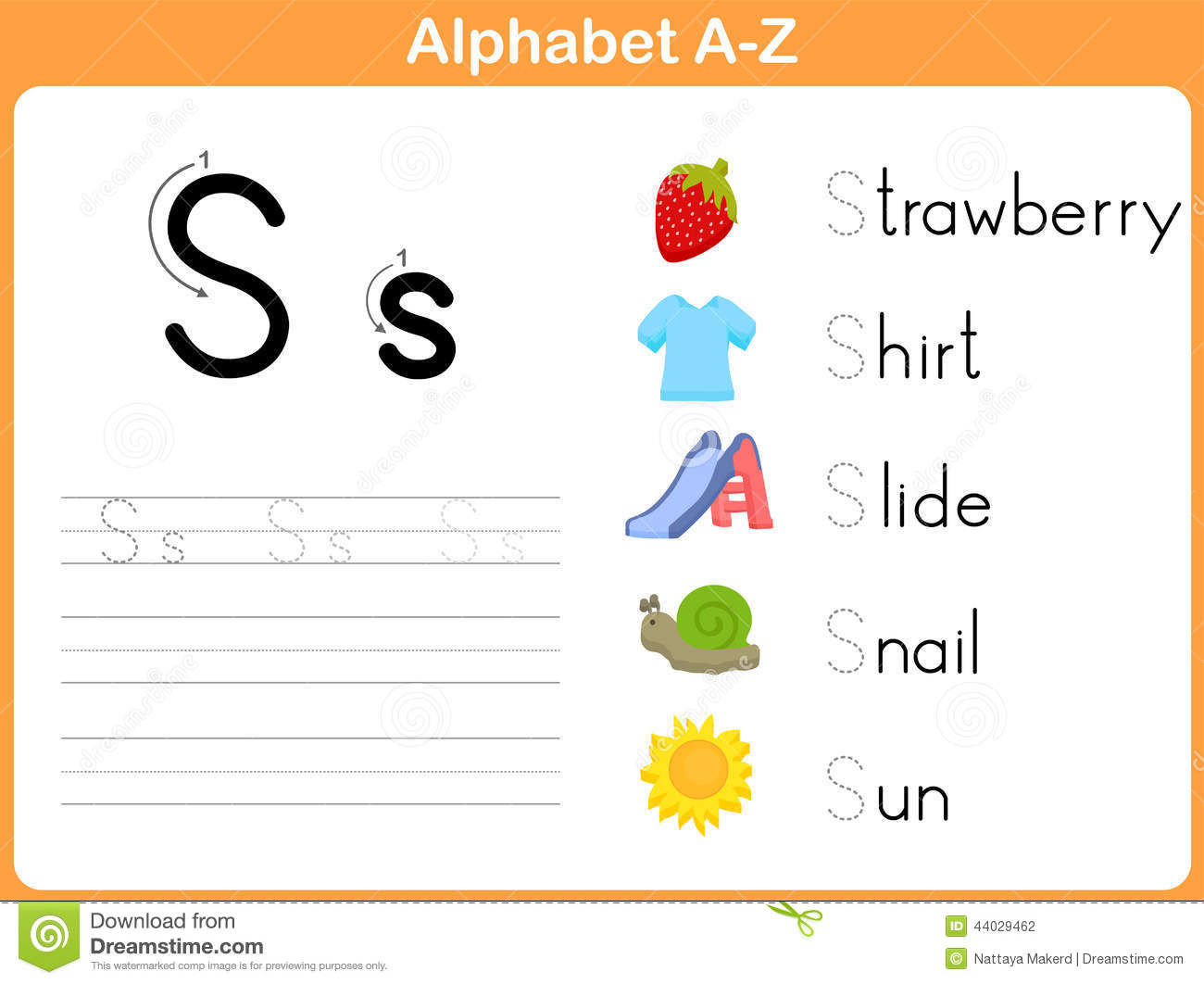 Alphabet Tracing Worksheet Stock Vector - Image: 44029462