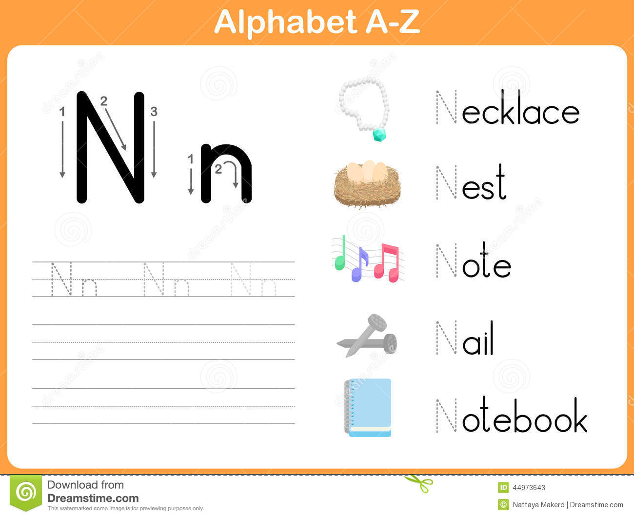 Stock Vector: Alphabet Tracing Worksheet: Writing A-Z