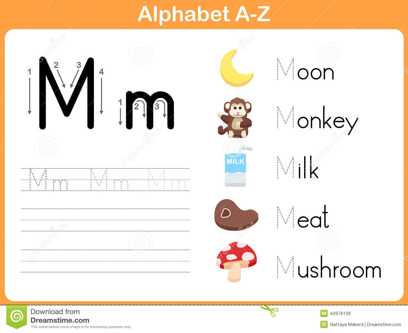 Alphabet Tracing Worksheet: Writing A-Z Stock Vector - Image: 44976139