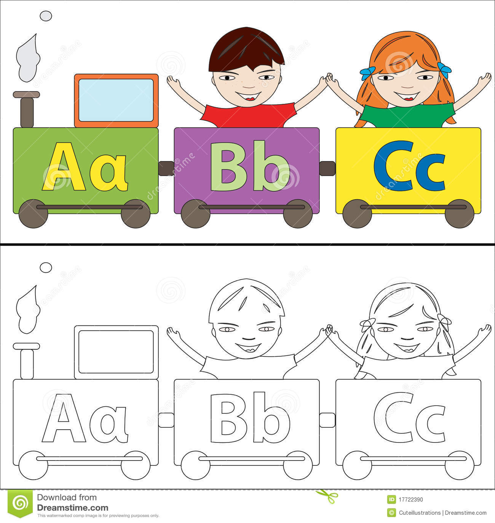 Alphabet train coloring - Alphabet Train Stock Photo
