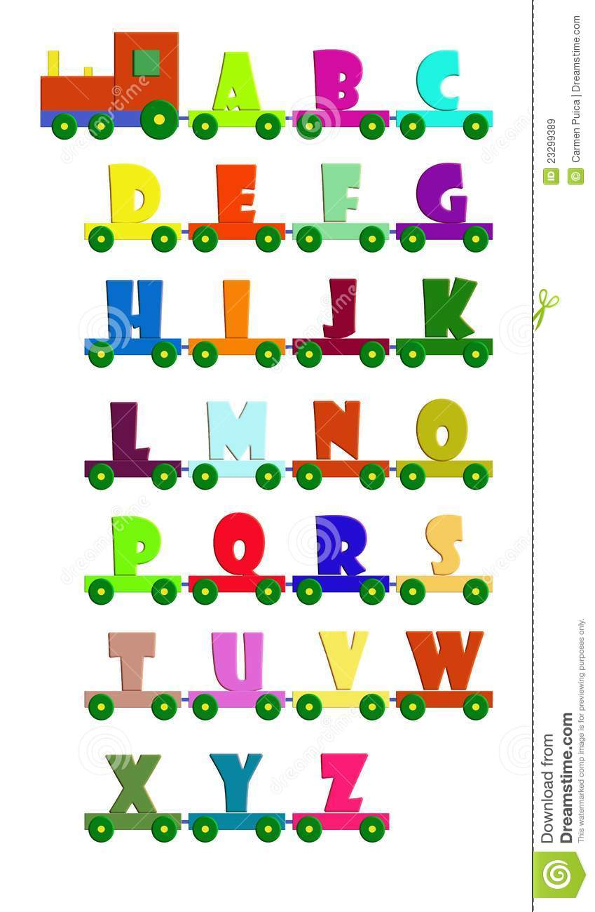 Colored Alphabet Train With Uppercase Letters Locomotive And Carriage