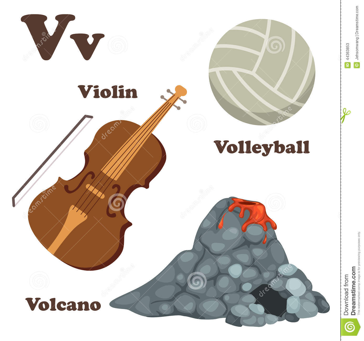 V Is For Violin Alphabet V Letter.Volc...