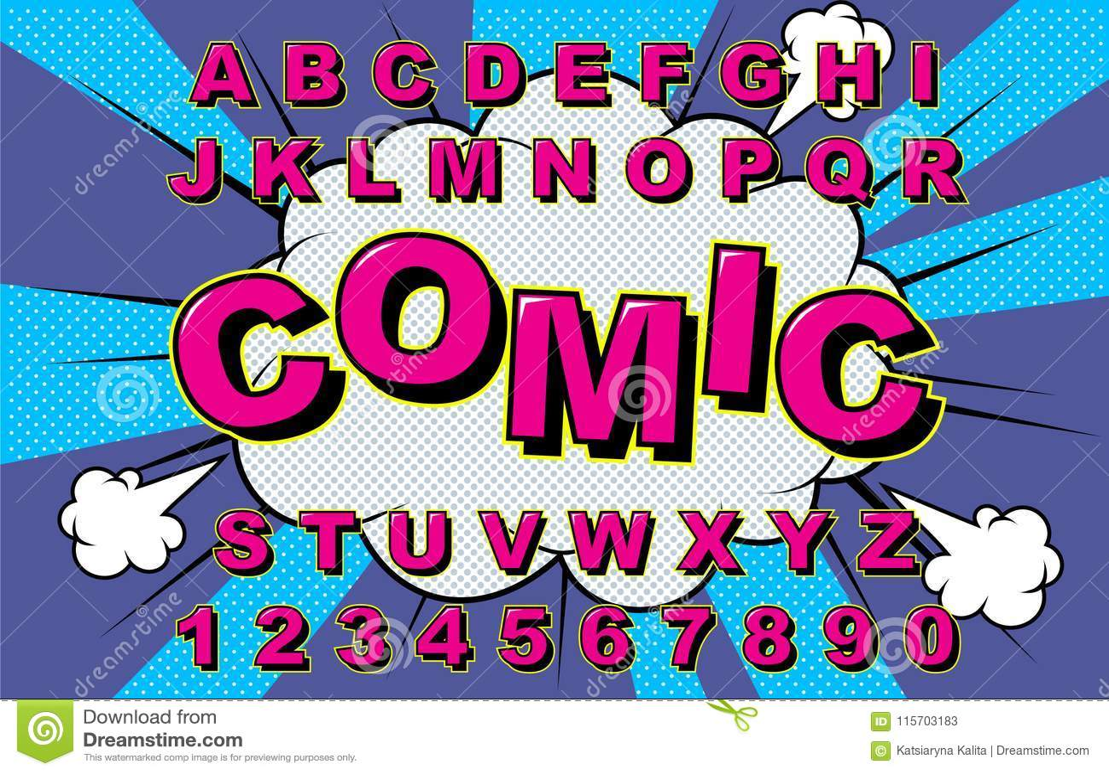 Alphabet Vector Comic  stock vector  Illustration of retro