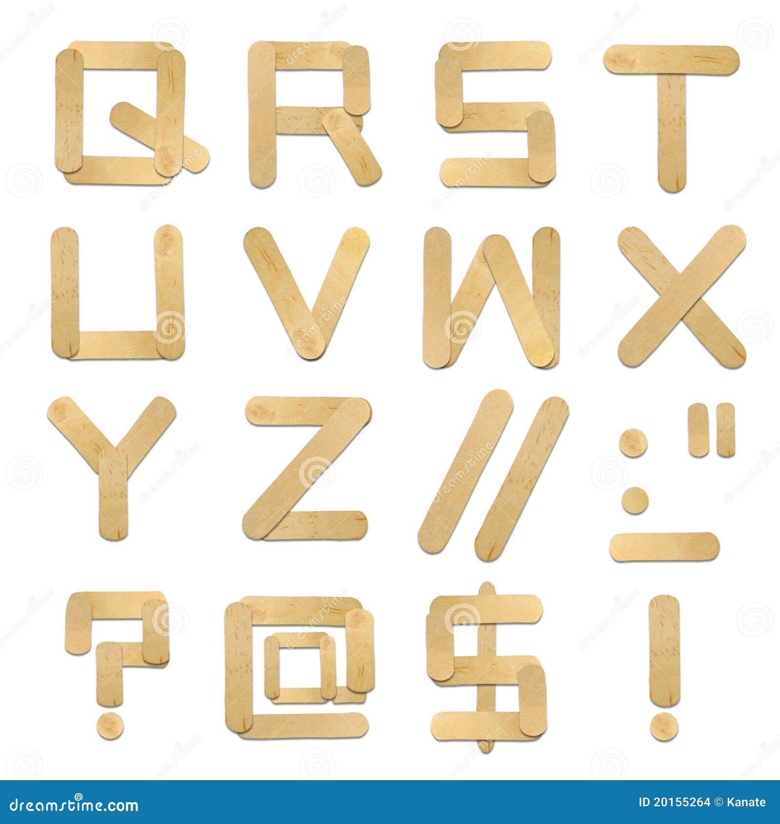 alphabet wood ice cream stick stock images