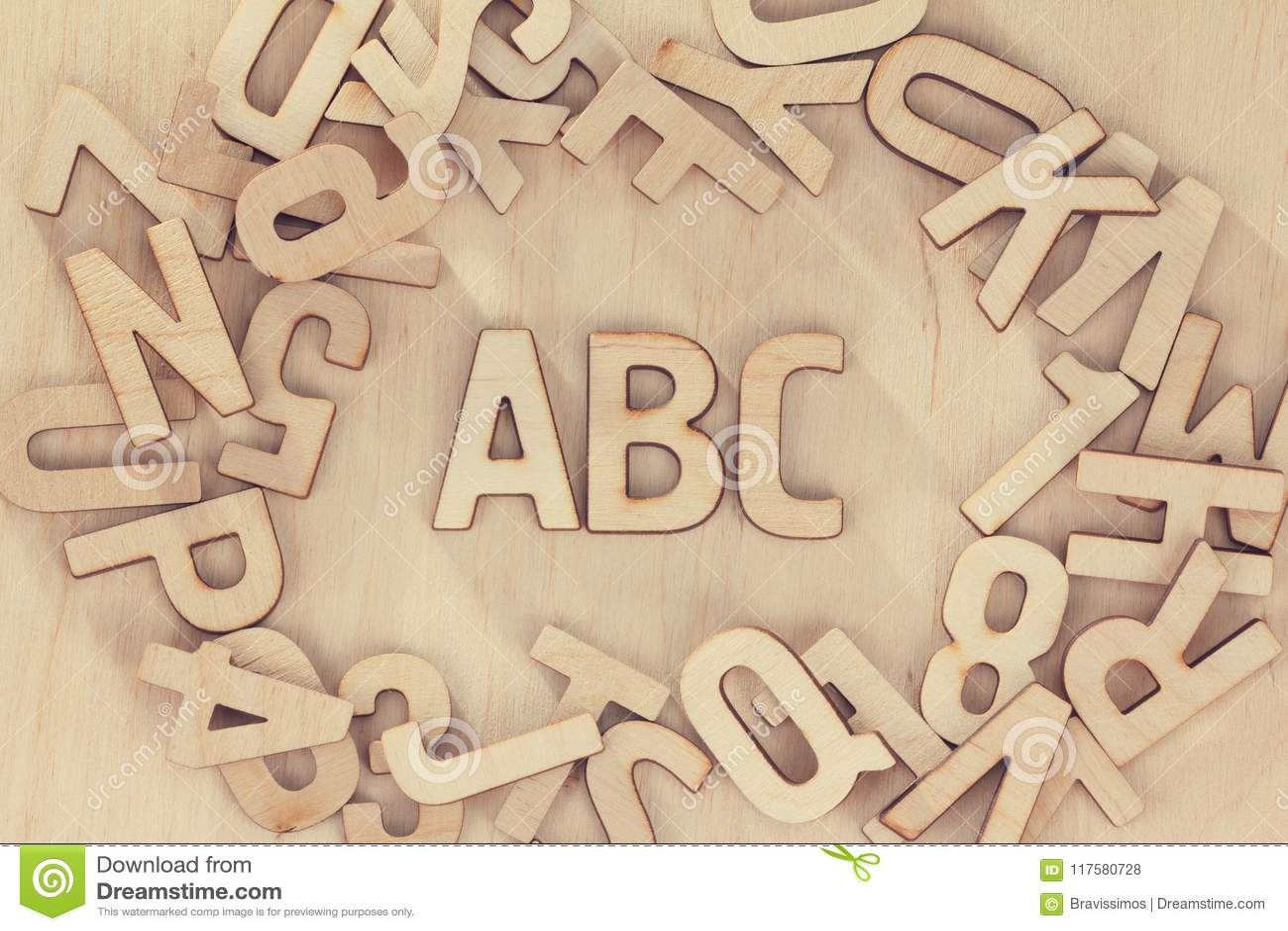 Alphabet Wooden Letters Set Symbols Wood Background Abc Education