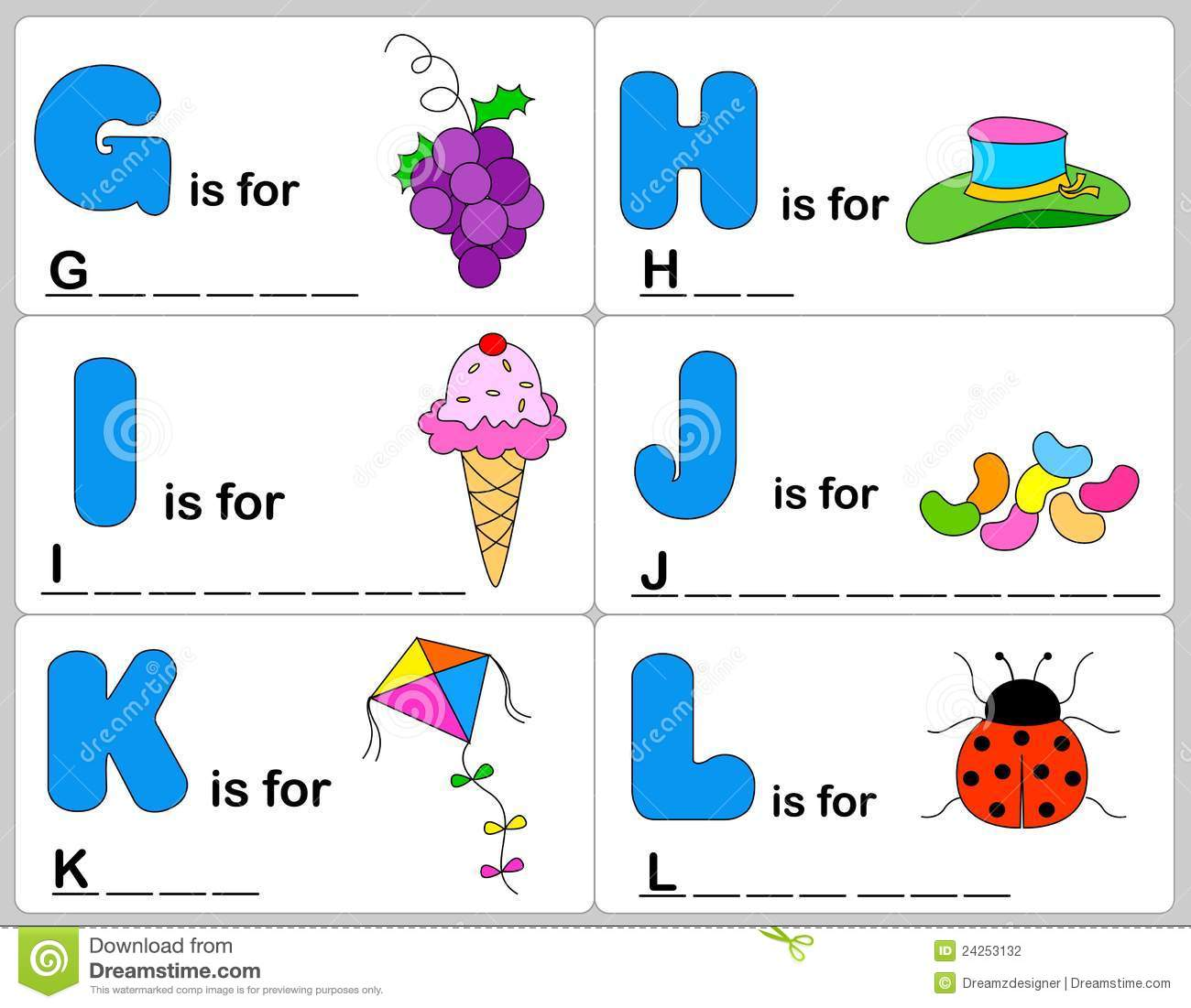 Children words learning game / worksheets with colorful graphics. G H ...