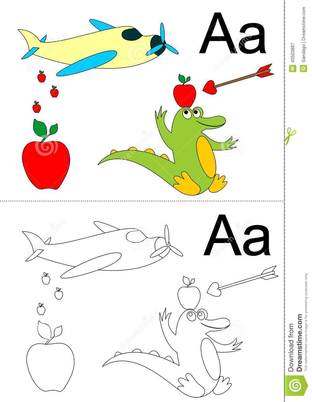 Illustration of letter A worksheet(airplane ,apple ,alligator and ...