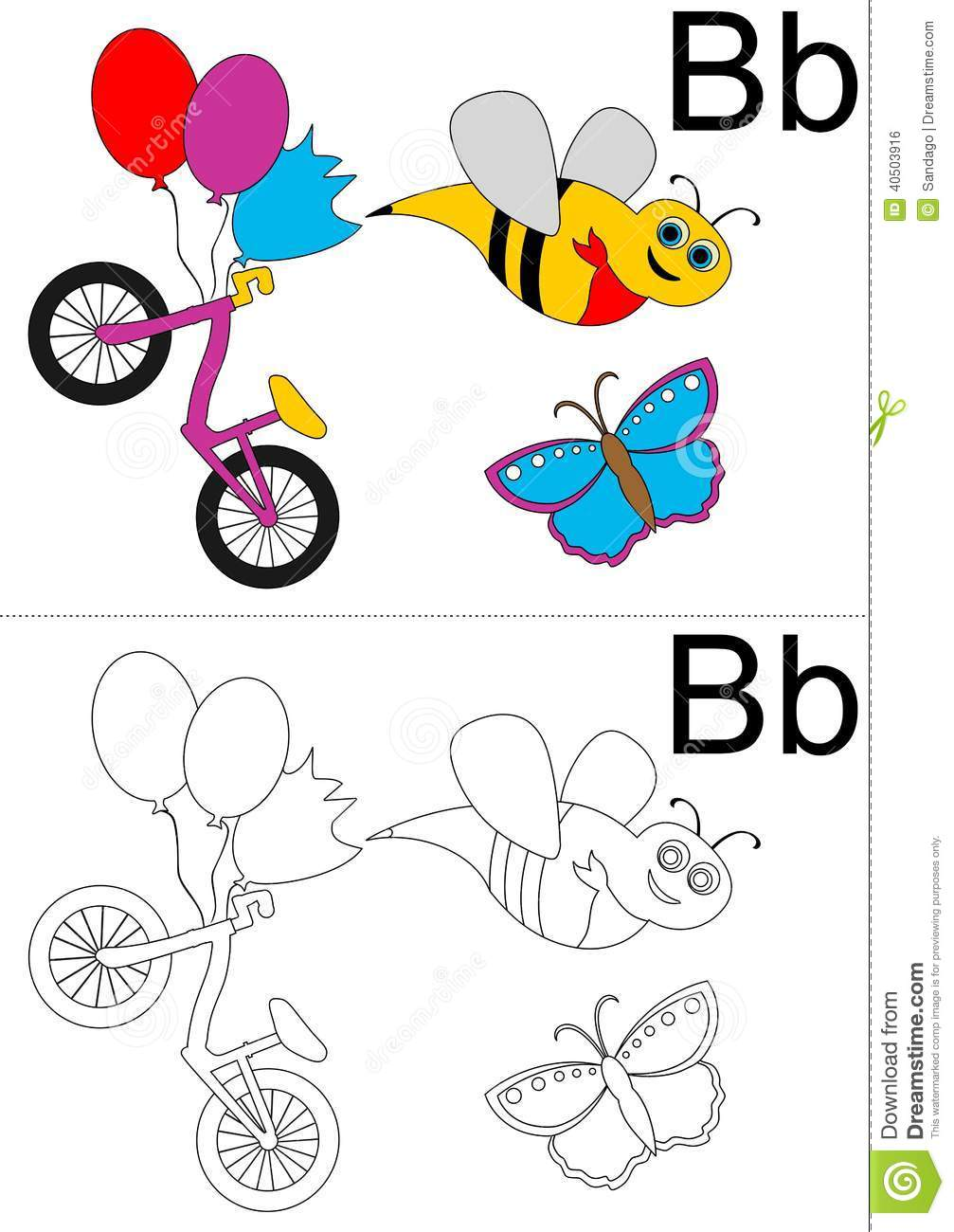Letter B Worksheet Stock Vector - Image: 40503916