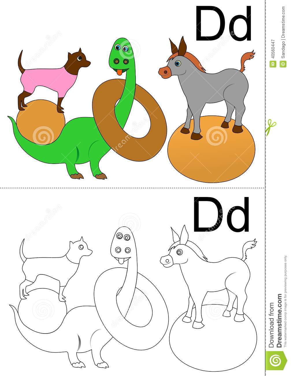 Vector illustration of letter D worksheet ( donut,dog,dinosaur and ...