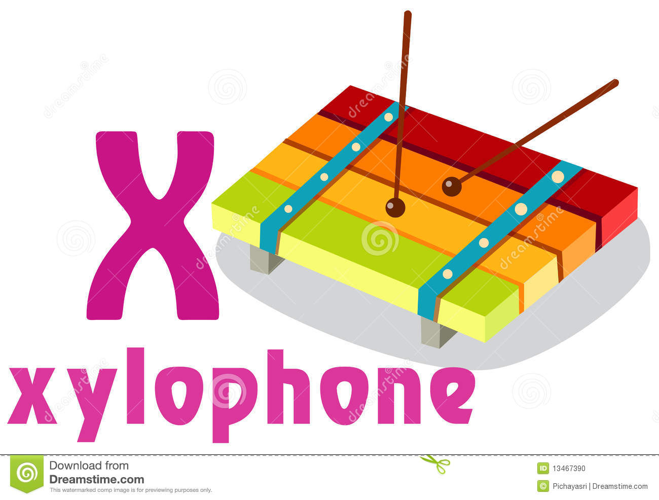 Alphabet X With Xylophone Stock Photo - Image: 13467390