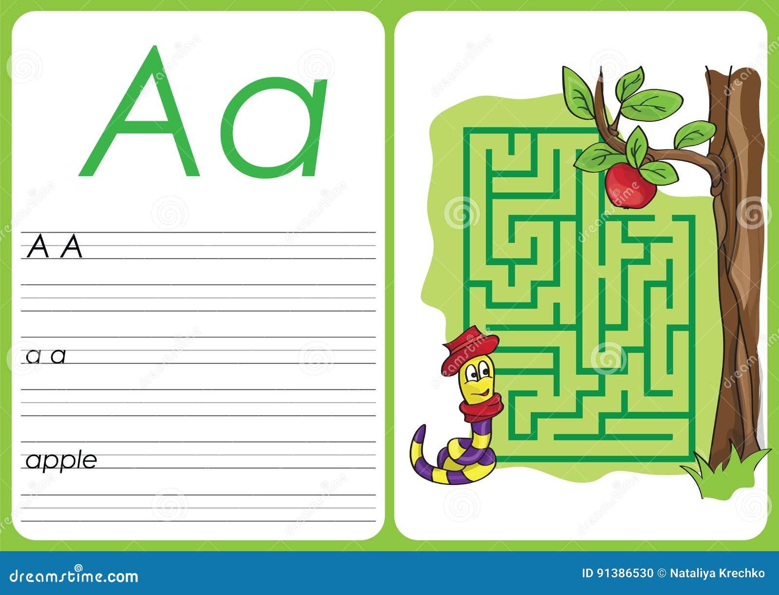 Alphabet A-Z - Puzzle Worksheet - A - Apple Stock Vector ...