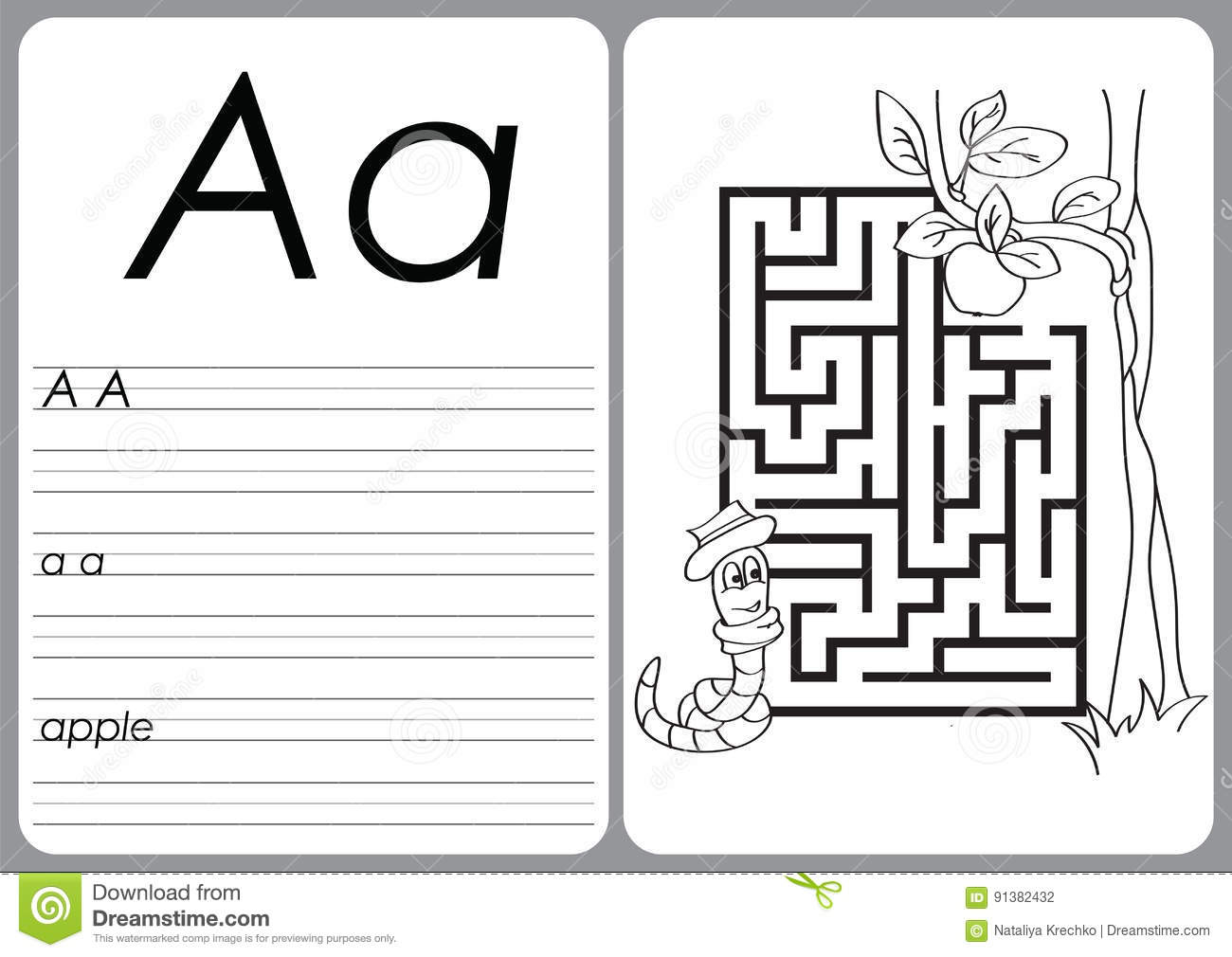 graphic regarding Alphabet Puzzle Printable known as Alphabet A-Z - Puzzle Worksheet - Coloring Guide Inventory Vector