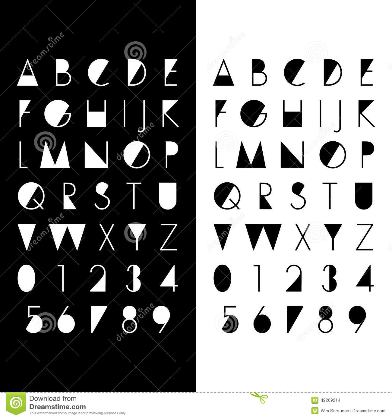 Alphabetic Fonts And Numbers Stock Vector