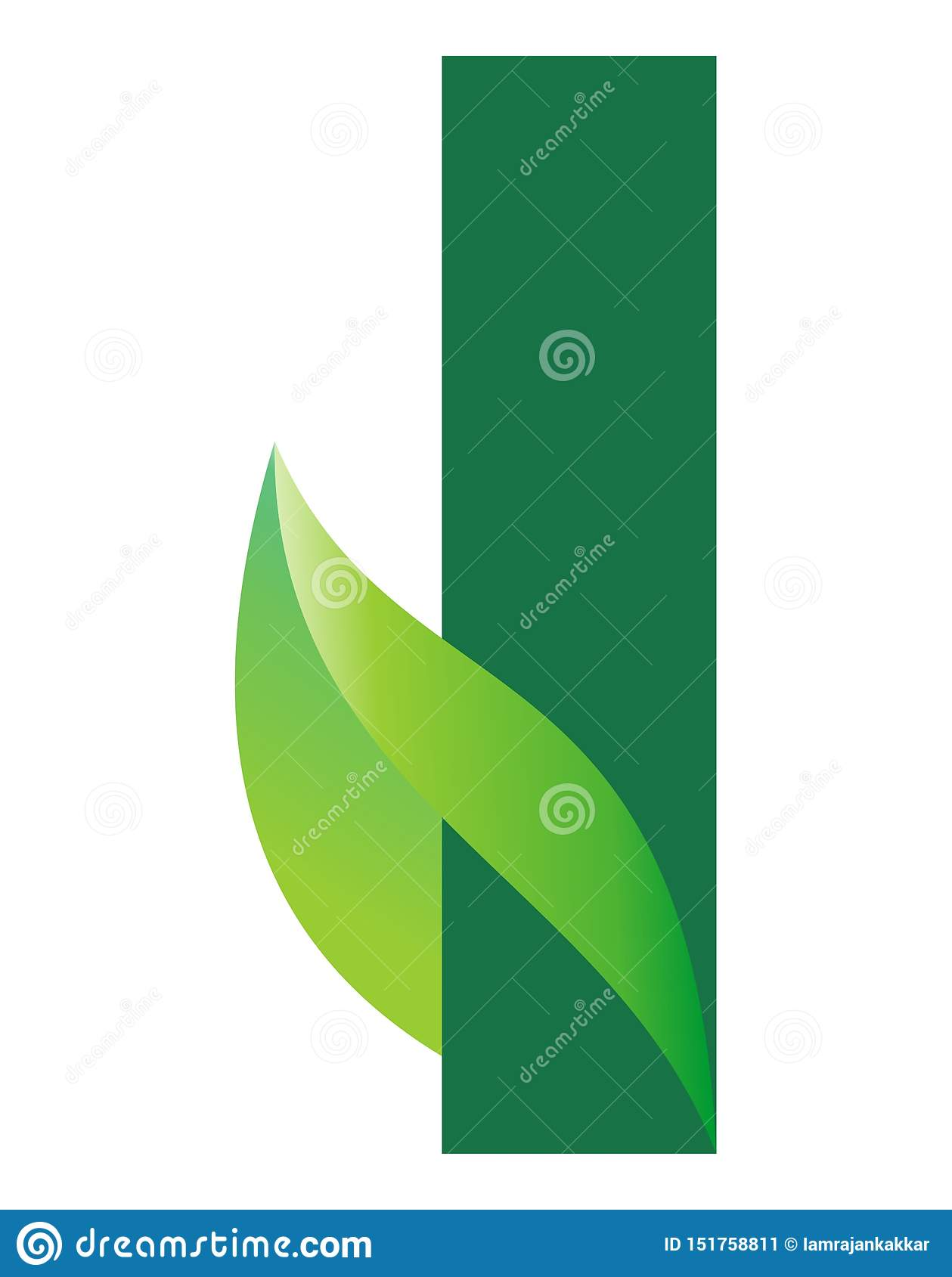 Alphabetic green color logo design for a herbal product company and for plant nursery business