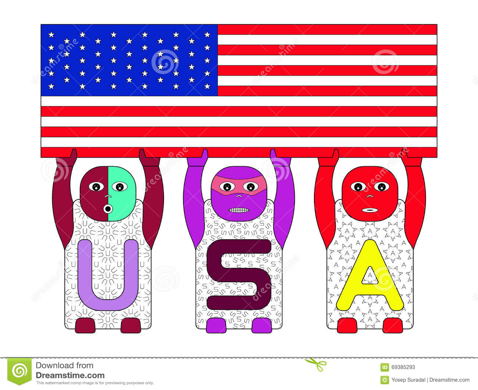 alphabetical children s s u s a lifting us flag on white alphabetical children s s u s a lifting us flag on white background