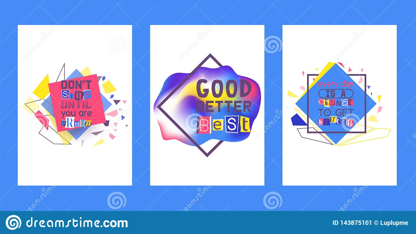 Alphabetical collage set of cards vector illustration. Words cut out by scissors from colorful paper. Dont stop until