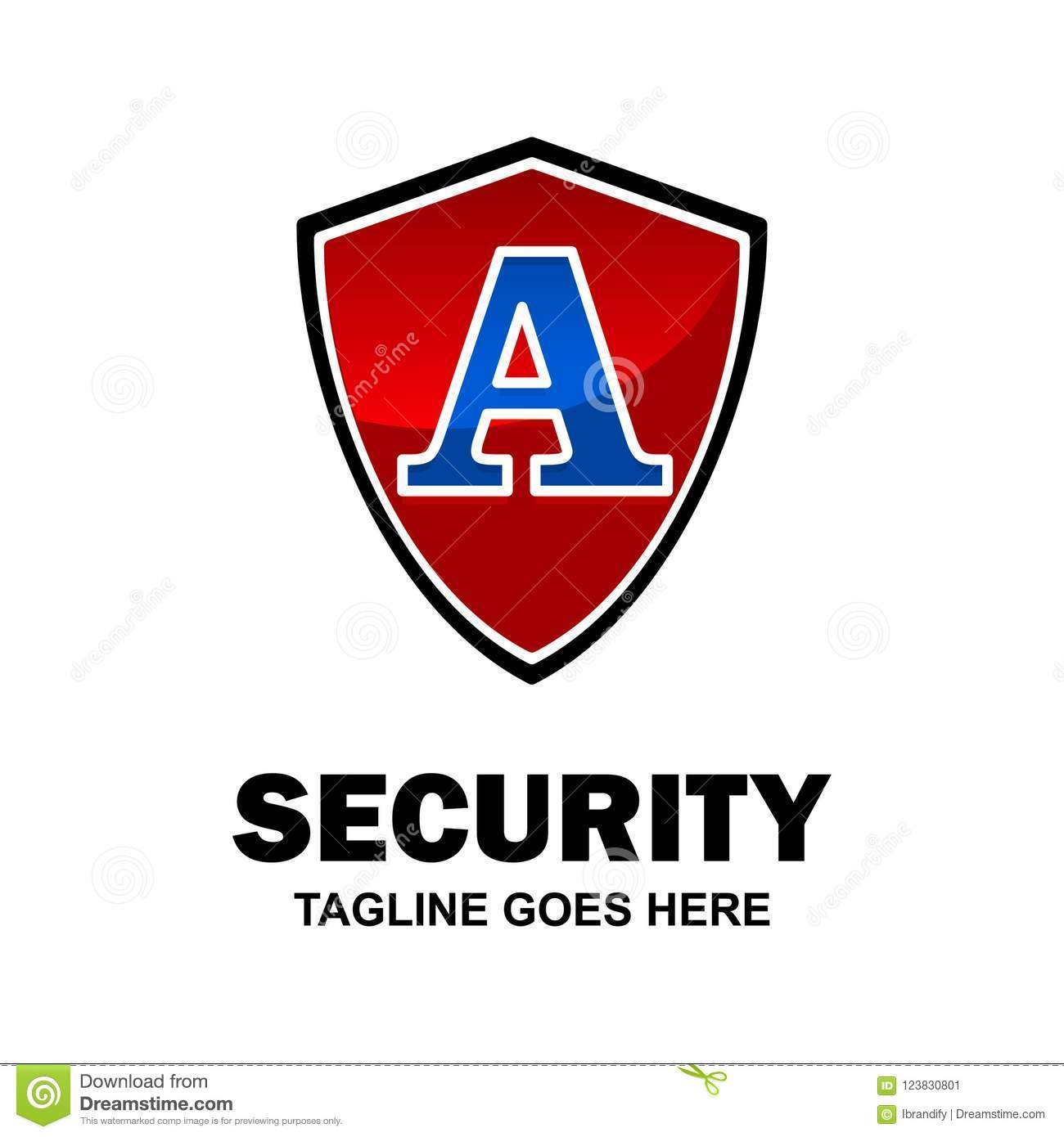 Alphabetical security logo design with creative typography vector