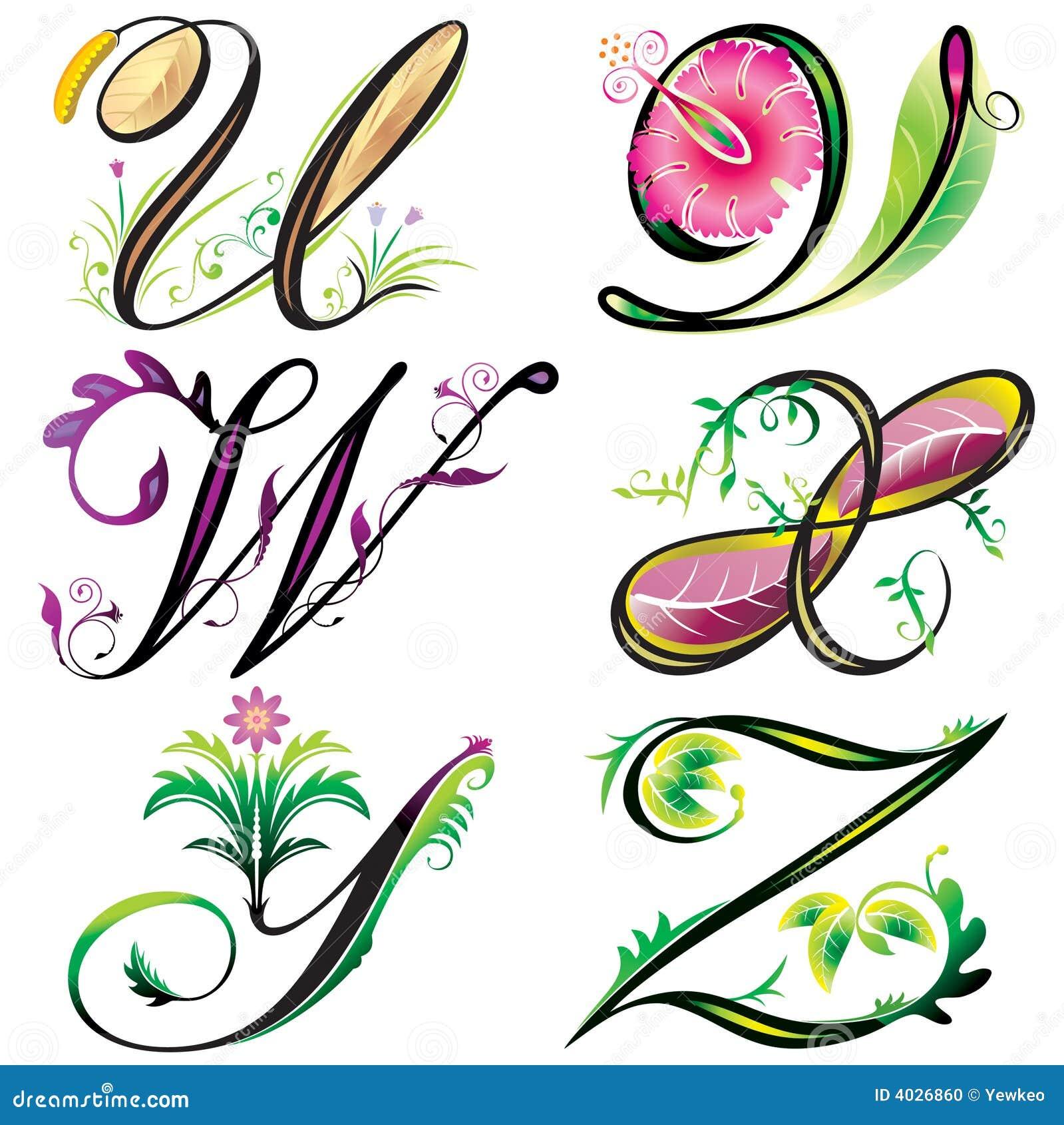Alphabets Elements Design Series U To Z Stock Vector