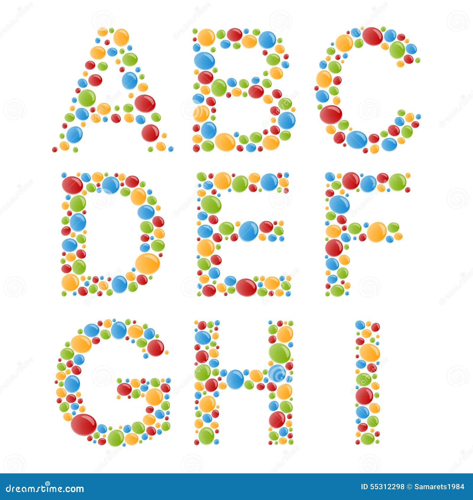alphabets placez les lettres des bulles ou de la sucrerie color es stylis es illustration de. Black Bedroom Furniture Sets. Home Design Ideas