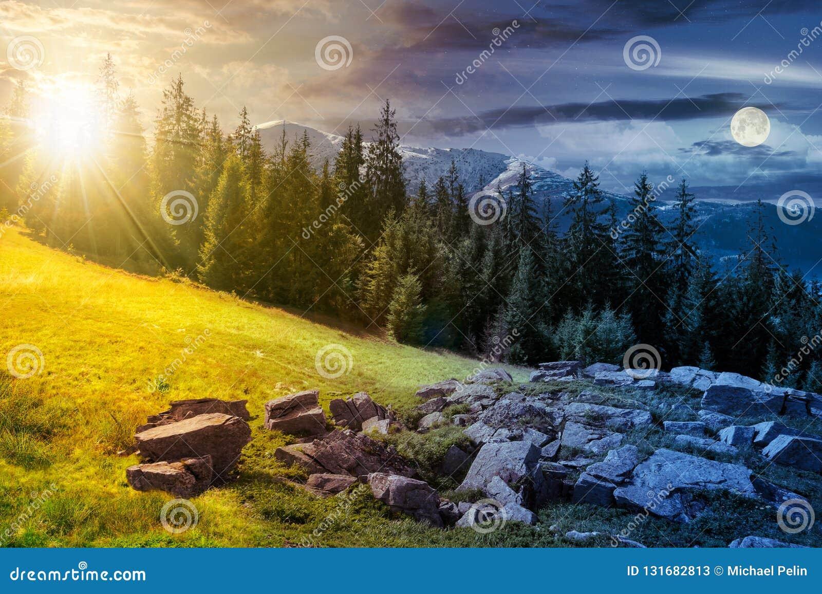 Alpiene de dag en de nachtveranderingssamenstelling van het de zomerlandschap