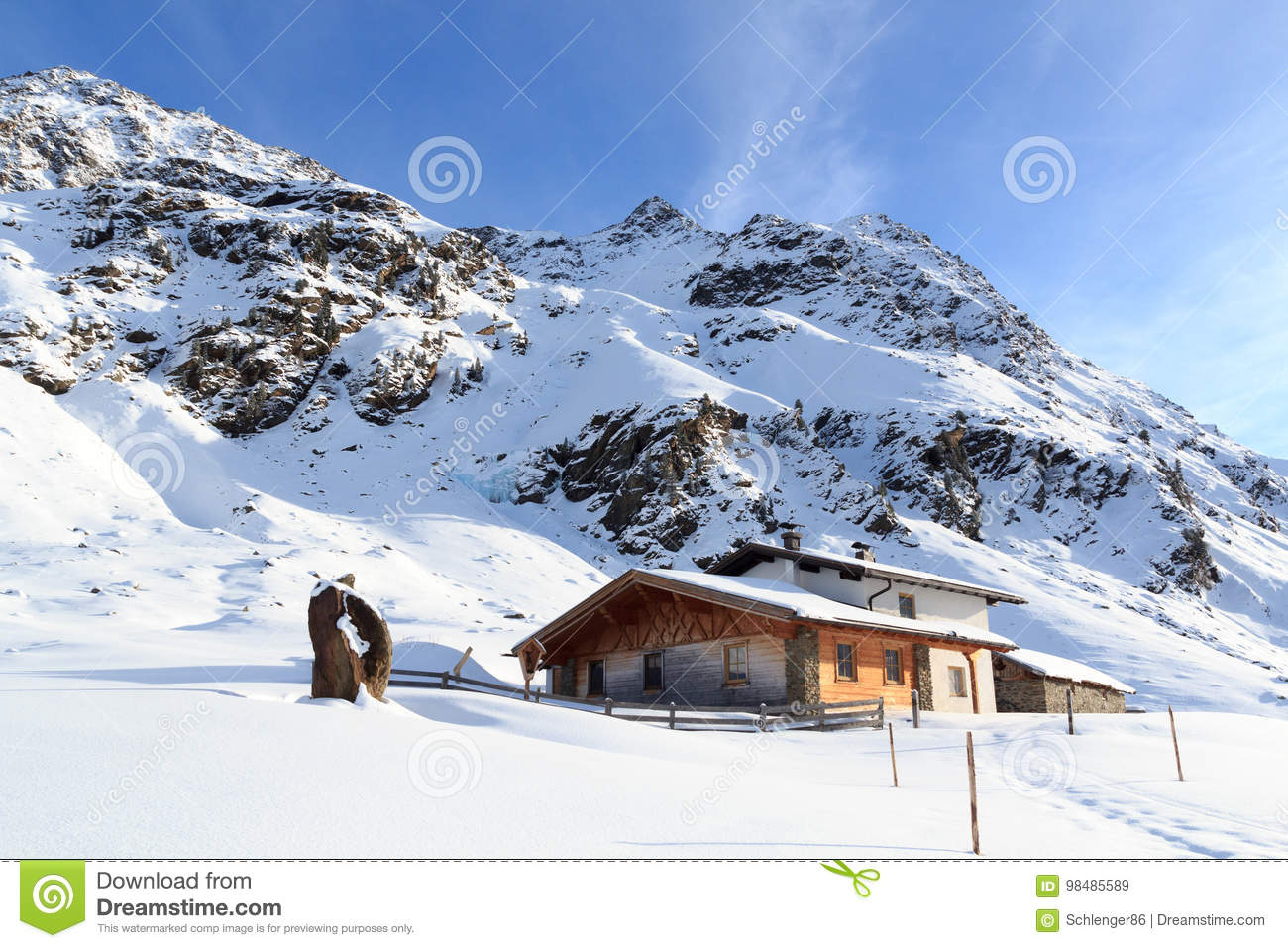 Download Alpine Chalet House And Mountain Panorama With Snow In Winter In Stubai Alps Stock Image - Image of mountains, mountaineering: 98485589