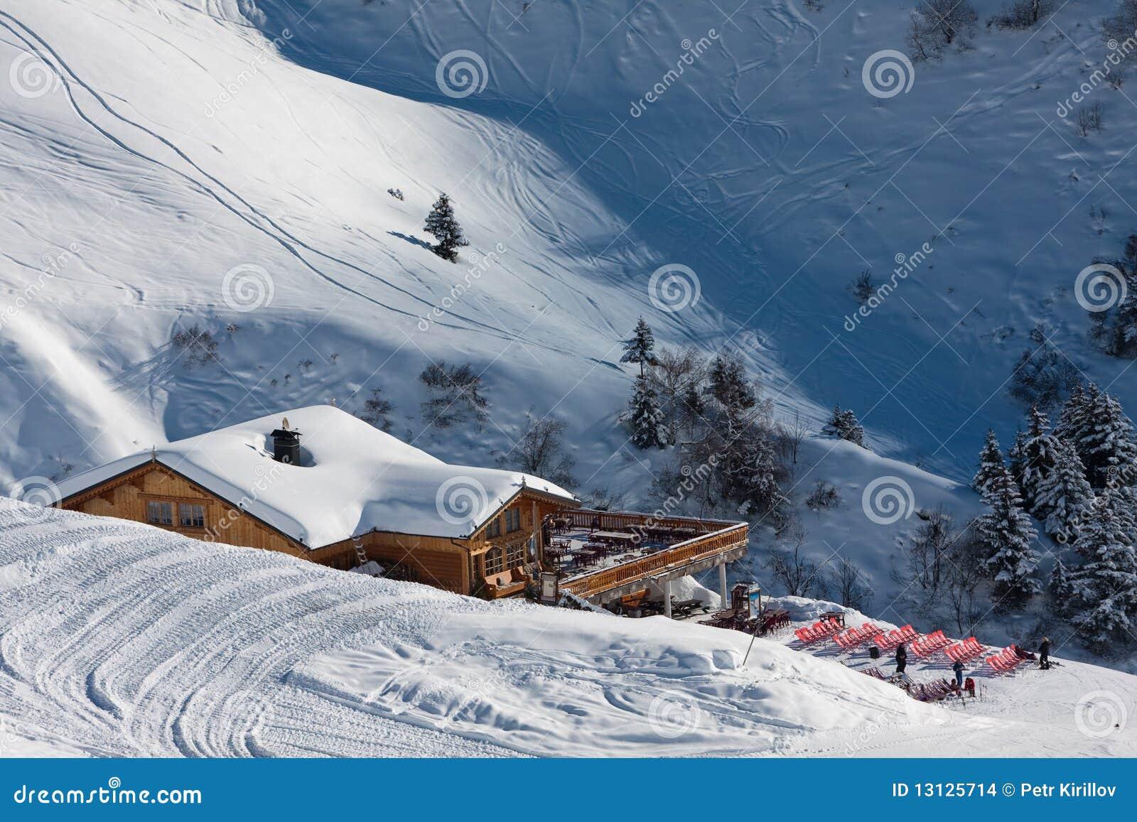 Alpine chalet. Winter time