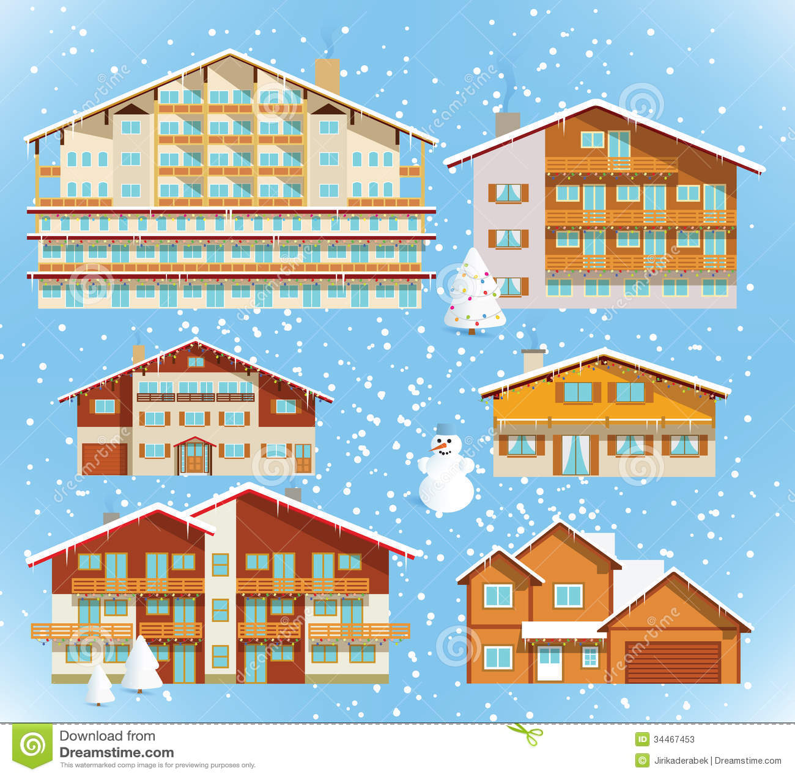 Alpine Hotels Houses Christmas Stock Photos Image
