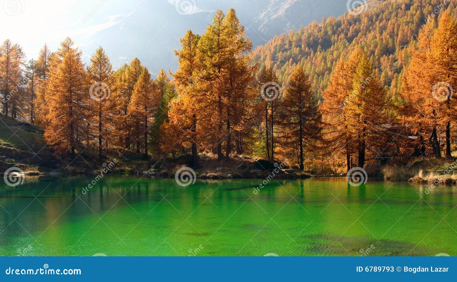 Alpine Lake in autumn, Breuil-Cervinia, Italy