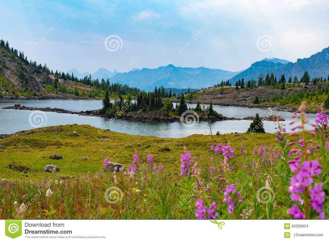 Alpine lake and mountains in sunshine meadows, Alberta