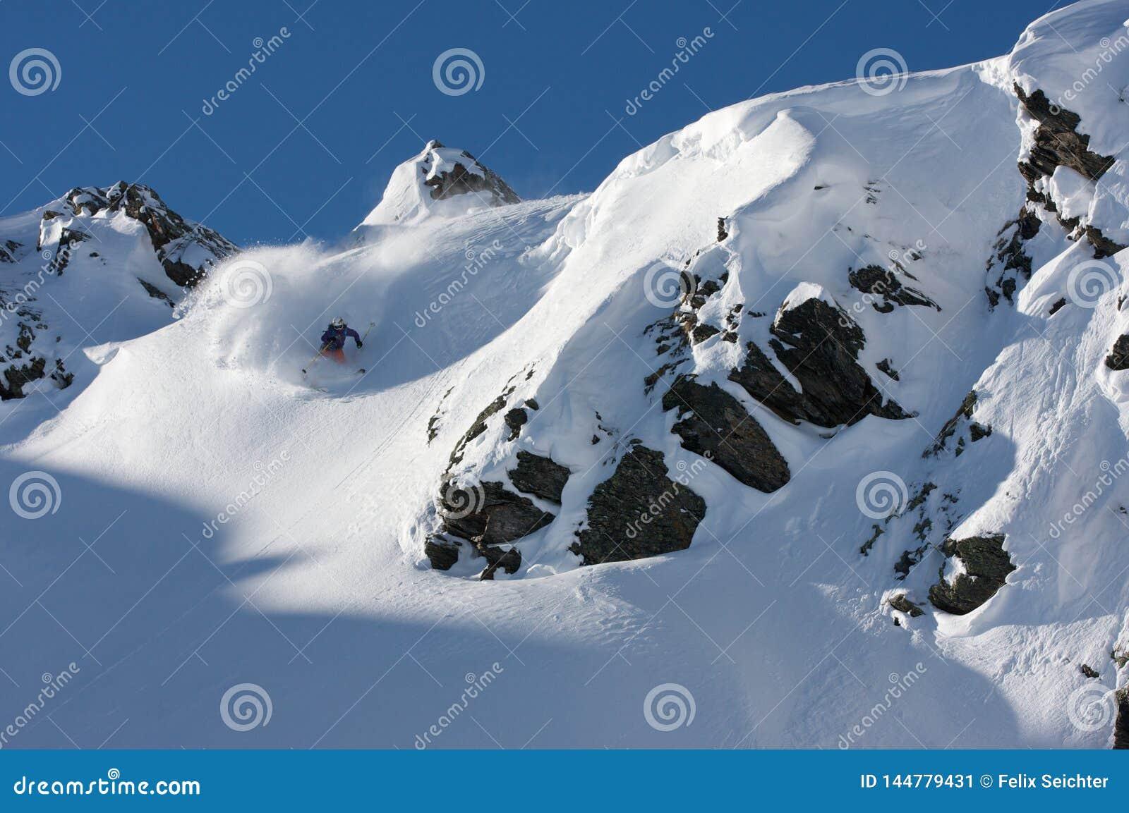 Alpine mountain landscape in winter. Top of Europe Austria