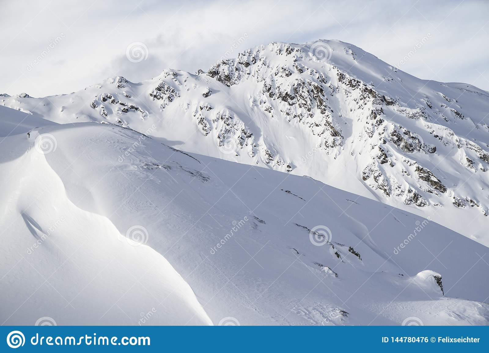 Alpine mountain landscape in winter. Top of Europe Austria