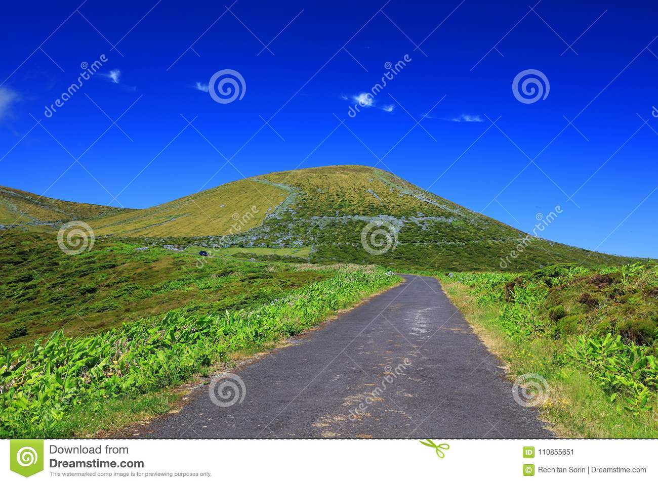Alpine road on Flores Island in a sunny day