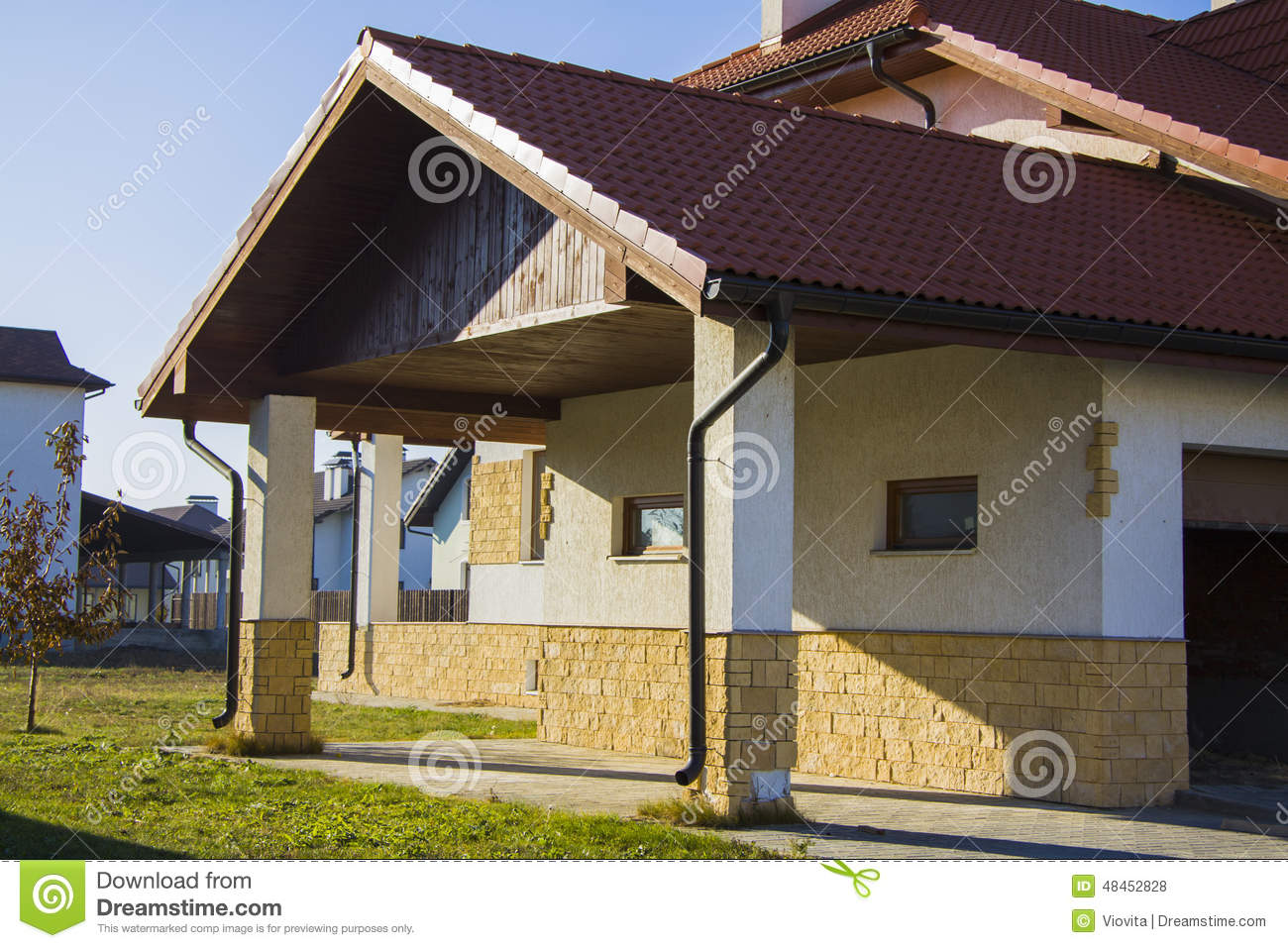 Alpine Style House With Court Parking Stock Photo Image