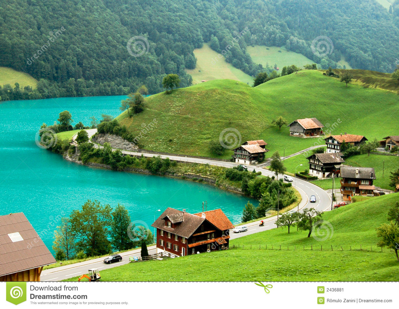 View from above of a village by lake Brienz, during springtime. Near ...