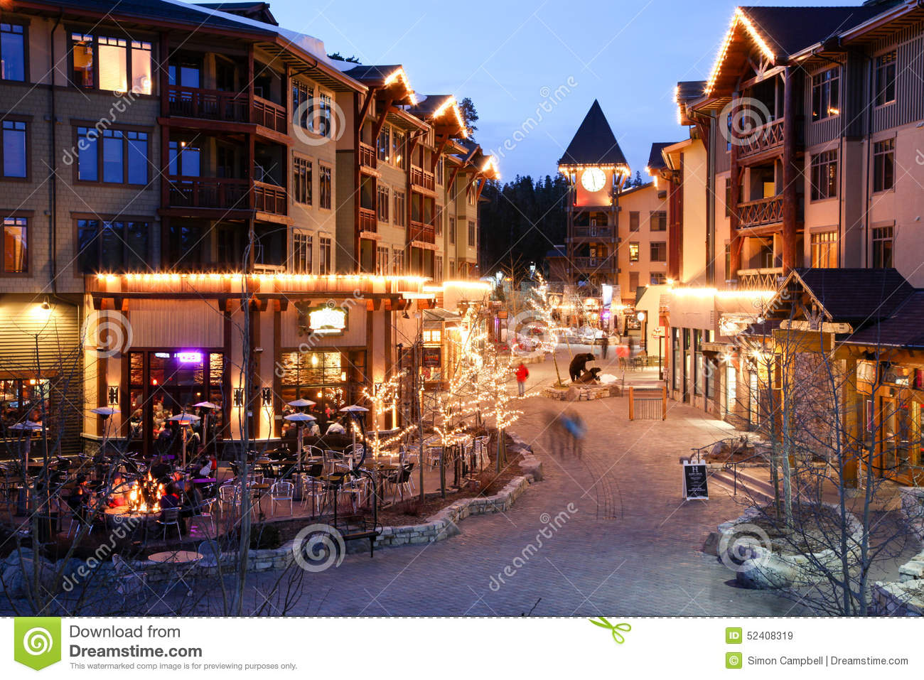 Alpine Village at Night, Mammoth Mountain, California Editorial Stock ...