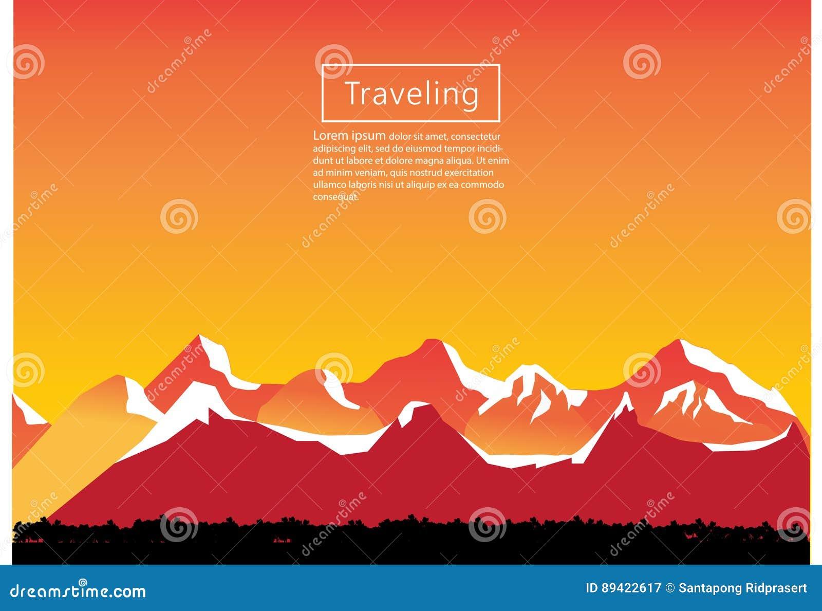 Alpinismo e ilustração de viagem do vetor Paisagem com picos de montanha Esportes extremos, férias e recreação exterior C