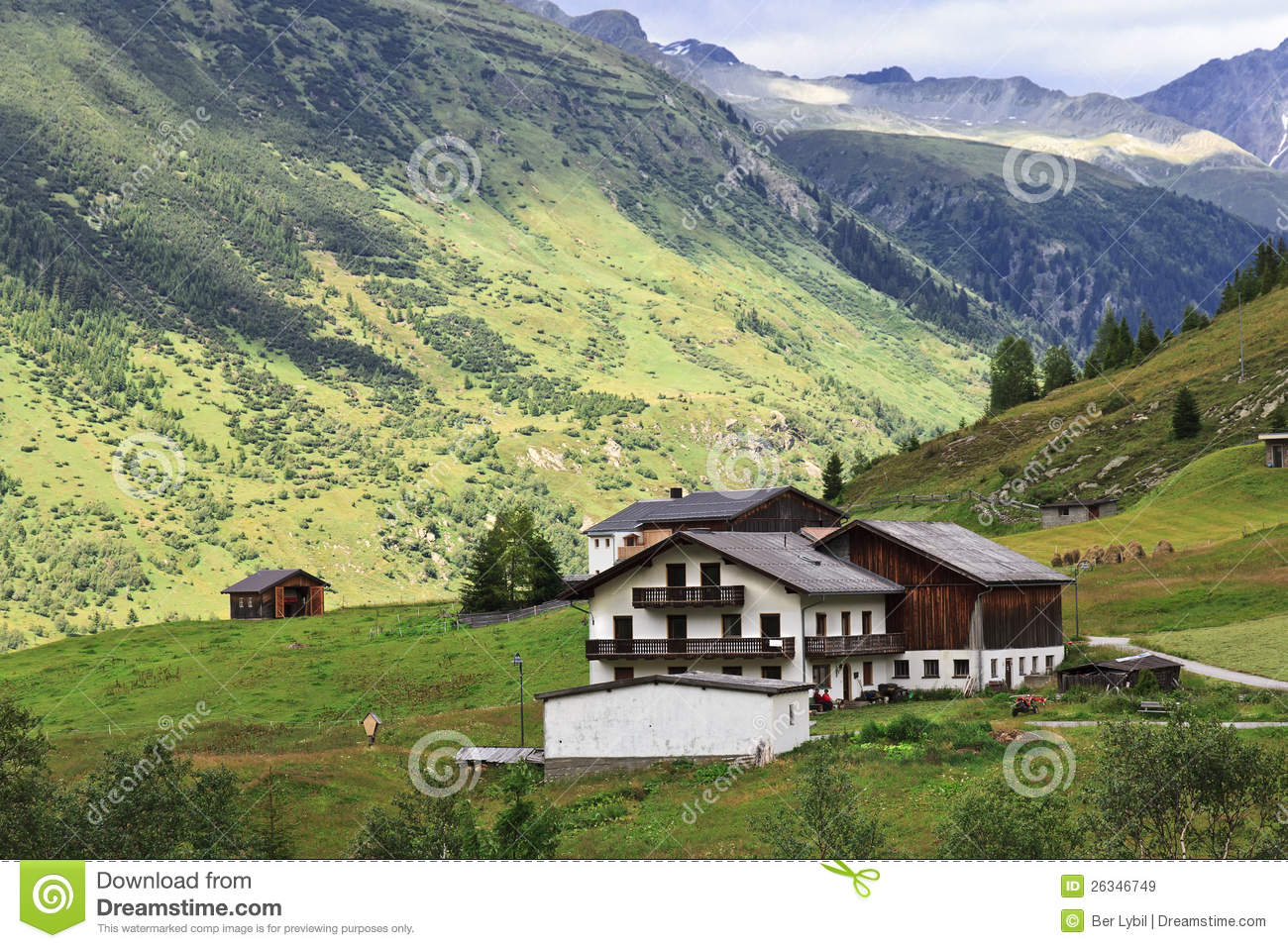 Alps Mountain House Meadow Valley